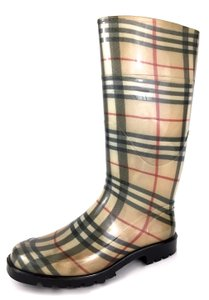 Burberry Nova Check Rain Classic Made In Italy Travel Beige Boots