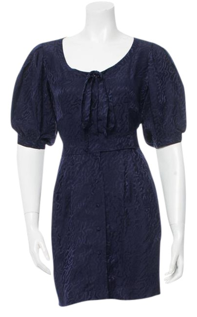 Item - Navy Blue Silk Mid-length Short Casual Dress Size 4 (S)