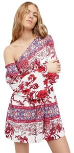 Free People short dress Red Fp New Summer Bohemian Chic Floral Printed Festival Fall Chic Cutout Cutwork Open on Tradesy