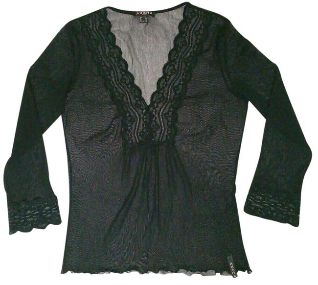 Item - V Cut Half Long Sleeves Black Top