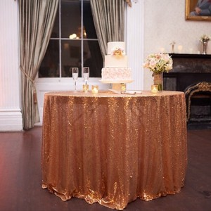 "Gold Sequin For 108"" Rounds Tablecloth"