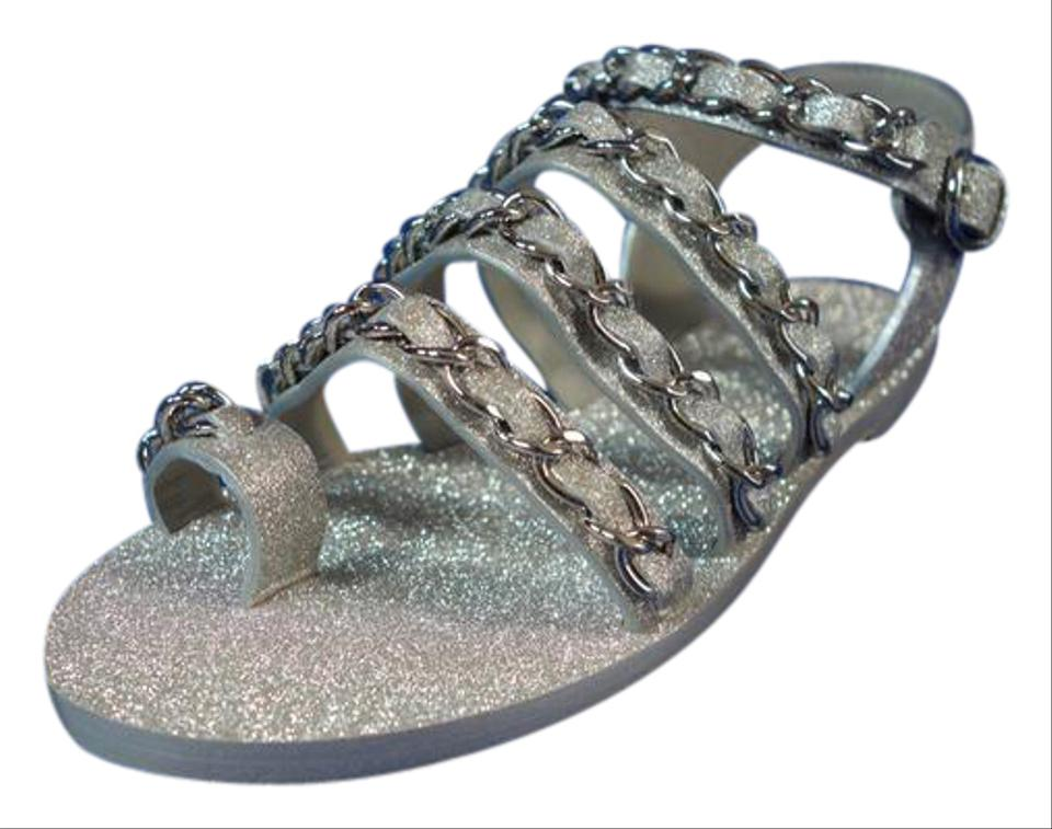 766dc534267 Chanel Light Grey Silver Metallic Leather Woven Chains Flats Gladiators Toe  Ring Sandals