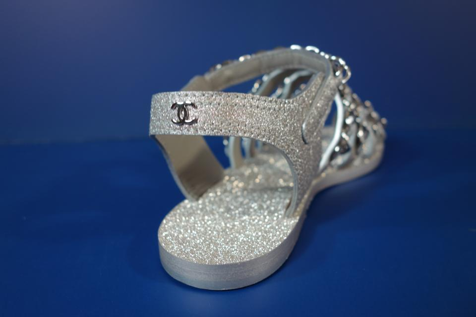 894d466ffb784 Chanel Light Grey Silver Metallic Leather Woven Chains Flats ...
