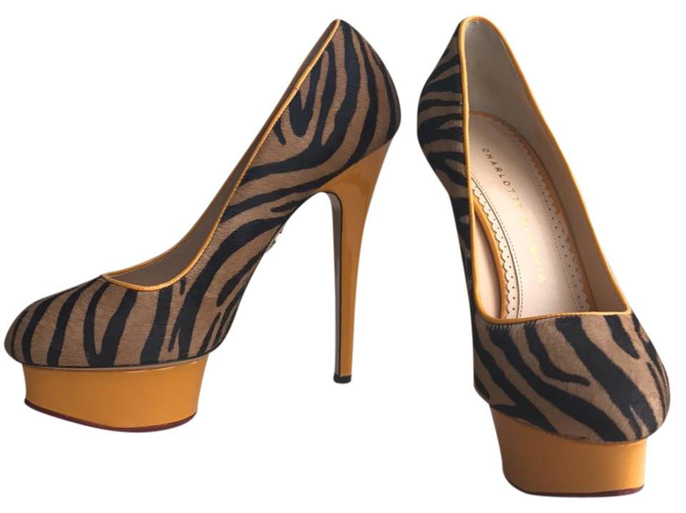 Charlotte Olympia Calf Yellow/Zebra Polly Zebra-print Calf Olympia Hair Pumps Platforms cd0d91