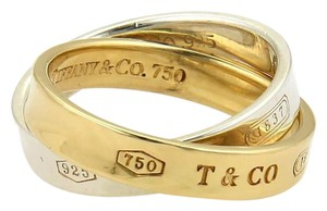 Tiffany & Co. 1837 18k Gold & 925 Silver 3.5mm Double Band Ring Size 3 3/4