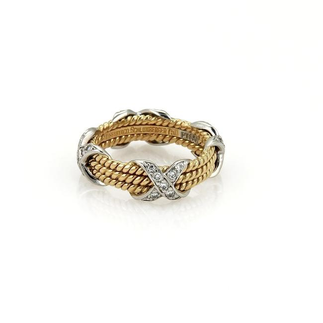 Item - Yellow Gold Platinum Schlumberger Diamond 18k 3 Row X Band Size 5 Ret: Ring