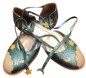 Anna Sui Star Moon Lace Up Cloud Blue, White. Yellow, Metallic Flats