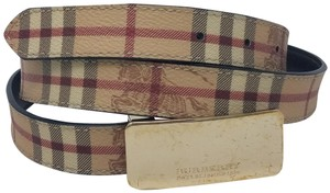 Burberry Tan, red multicolor coated canvas Burberry Haymarket check belt L