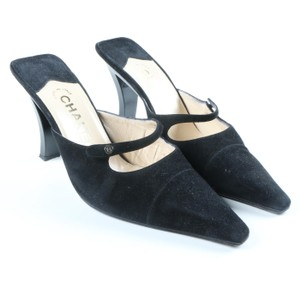 Chanel Suede Curved Heel Black Mules