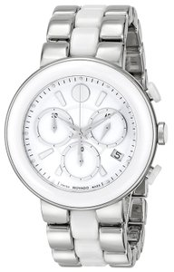 Movado NWT Women's Chronograph White Dial White Ceramic Watch 0606758
