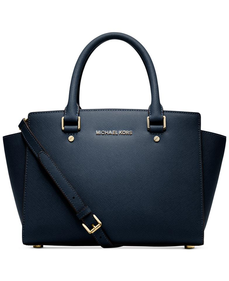 c512e534bffeb Michael Kors Selma Medium Top Zip (New with Tags) Navy Blue Gold Hardware  Saffiano Leather Satchel 30% off retail