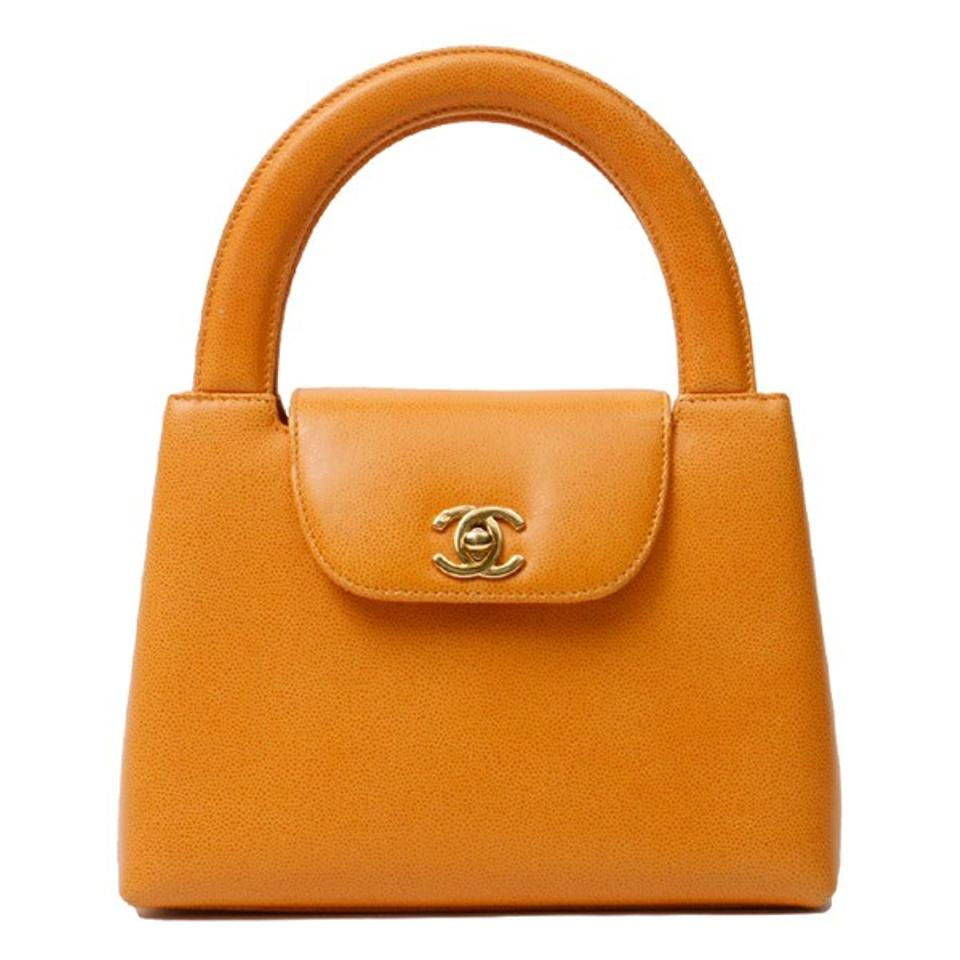 8e740d9135c8 Chanel Bag with Top Handle Classic Flap Rare Vintage Small Kelly Orange  Caviar Leather Tote