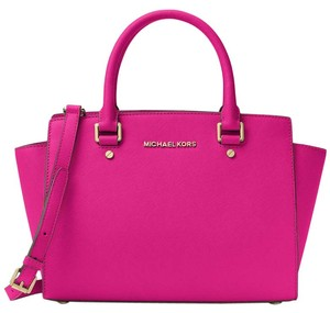 9d67453ed1 Michael Kors Saffiano Leather Purse Selma Mk Satchel in FUCHSIA PINK Gold  hardware