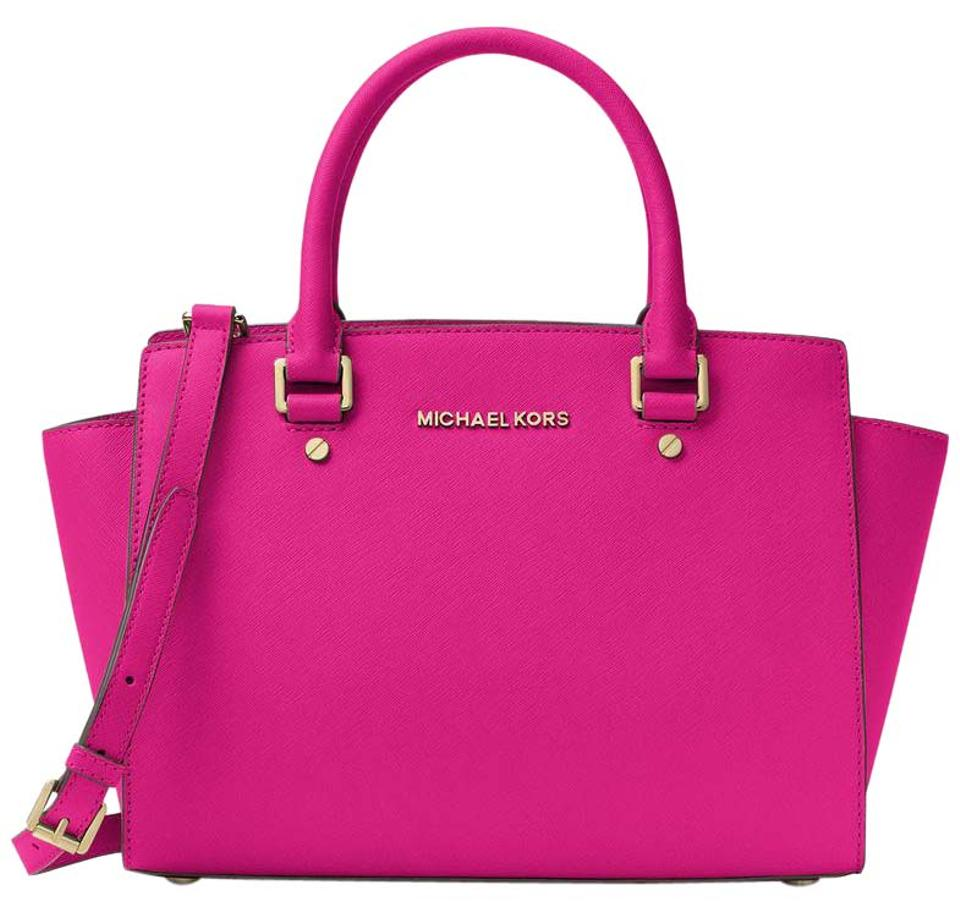 5367590ecc63 Michael Kors Saffiano Leather Purse Selma Mk Satchel in FUCHSIA PINK/Gold  hardware Image 0 ...