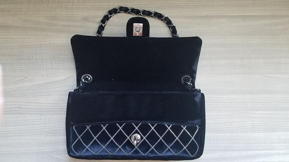 6e4d2365d08a Chanel Classic Flap East West Silver Chain Quilted Detail Black Velvet  Shoulder Bag - Tradesy