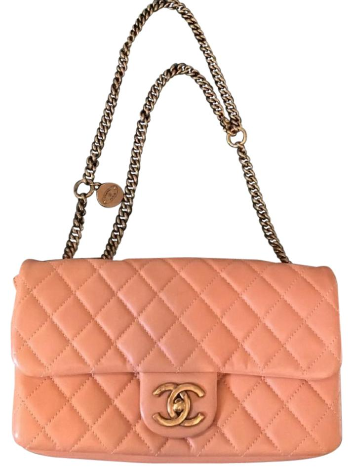 32208589d7d744 Chanel Cc Crown Flap Quilted Charm Logo Pink Calfskin Leather Shoulder Bag