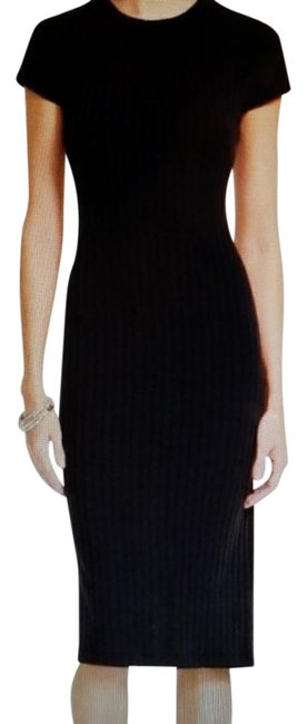 Item - Black Ribbed Knit Mid-length Work/Office Dress Size 6 (S)