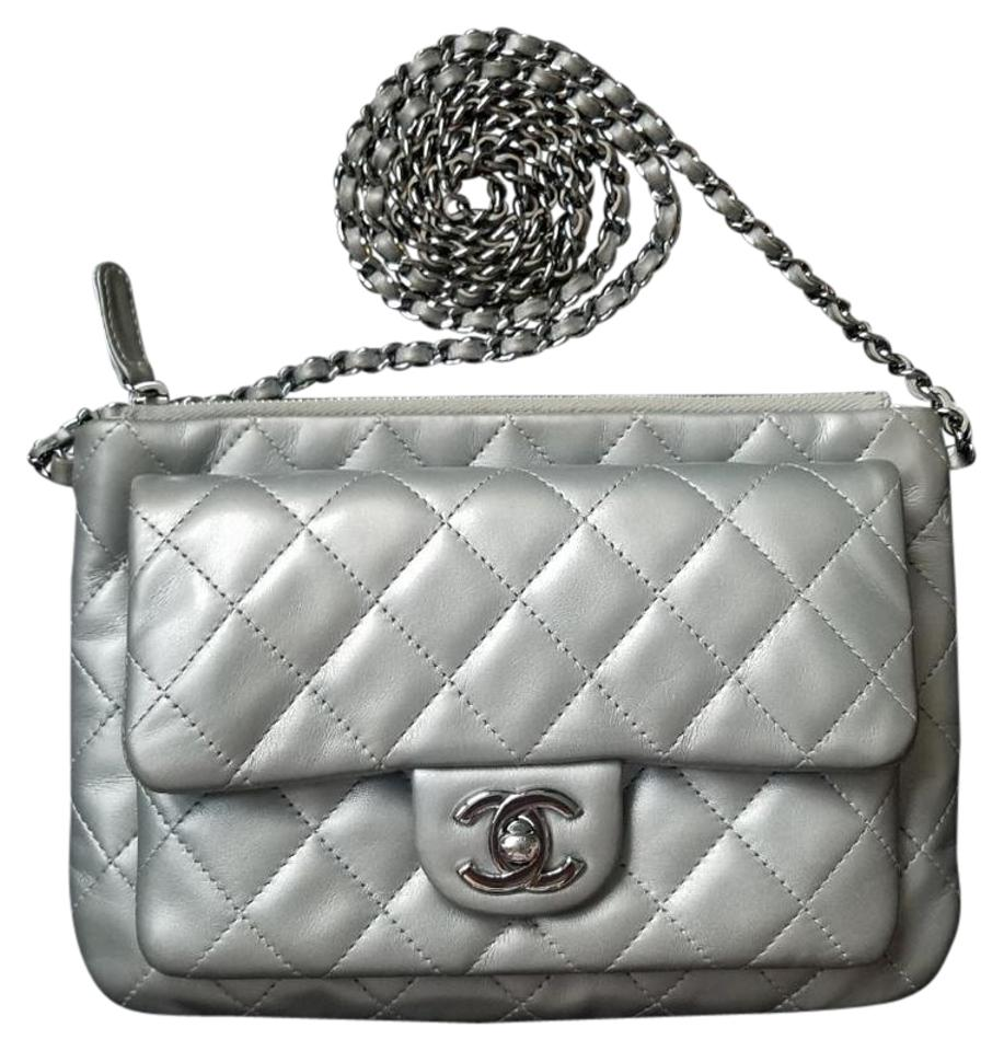 6b25ae15581d64 Chanel Daily Zippy Quilted Small Silver Lambskin Cross Body Bag ...