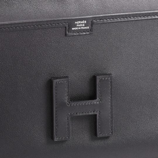 Hermès Leather Black Clutch Image 5