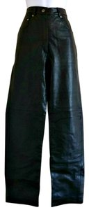Wallis Leather Mom High Waist Retro Vintage Boyfriend Pants Black