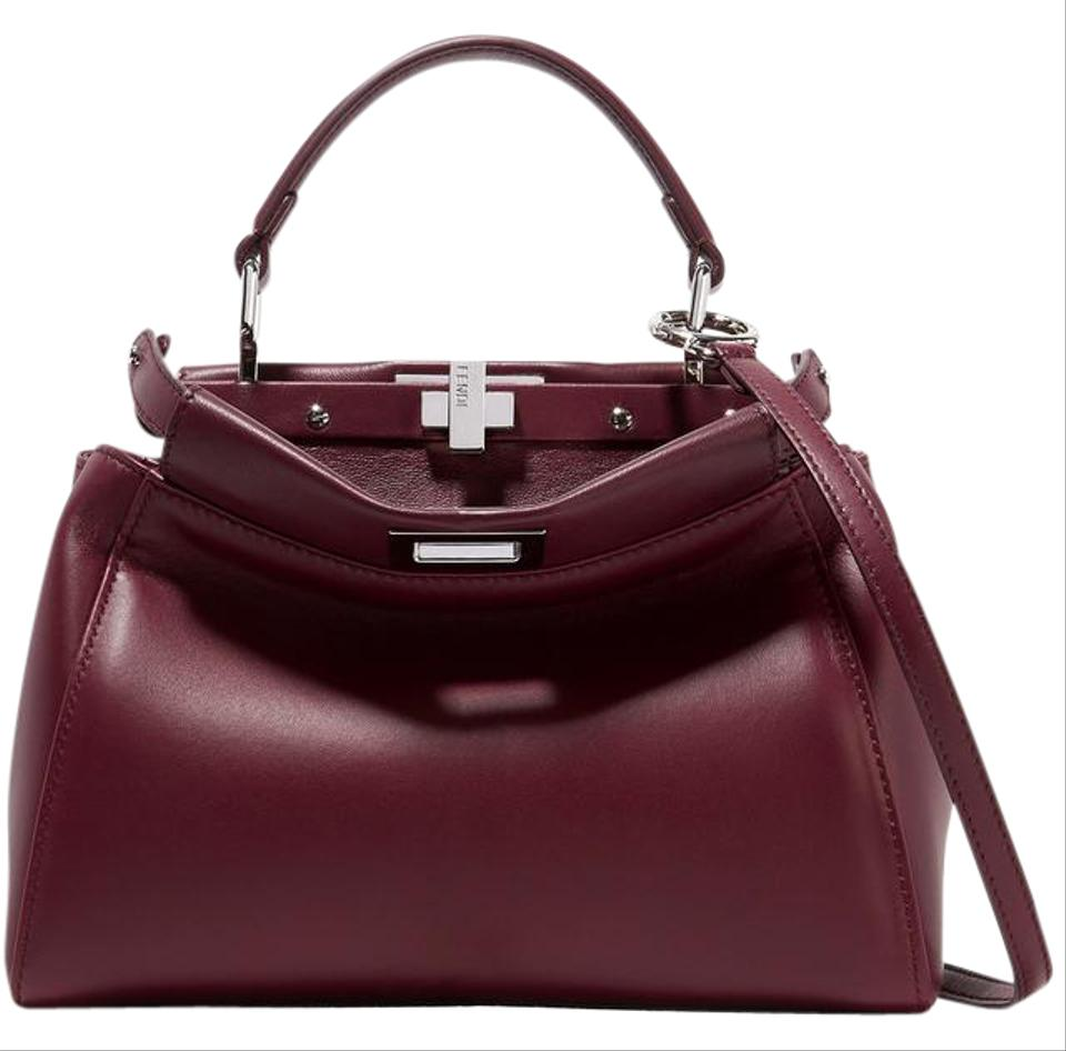 dd45c0c08e Fendi - Peekaboo Mini Burgundy Leather Tote - Tradesy