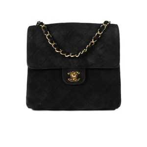 db50b7cc01e2 Chanel Classic Shoulder Cc Logo Quilted Flap Small Handbag Black / Gold  Suede Leather Cross Body Bag