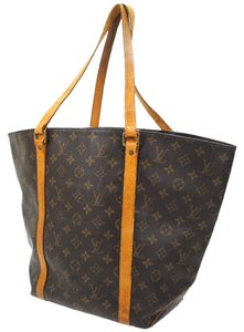Louis Vuitton Sac Shopper Monogram Canvas Leather Luggage Weekend Travel  Bags Shopper Lv Classic Tote in b727f303c5