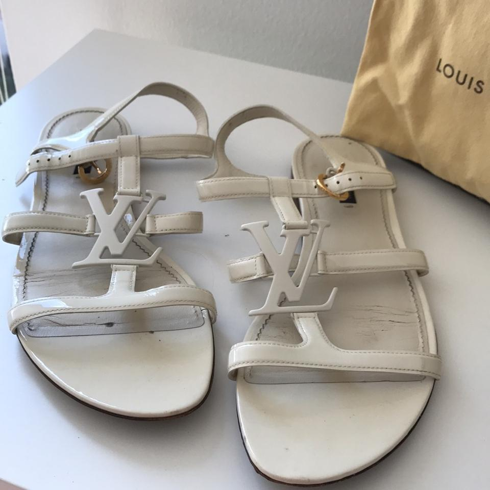 4bfb0c0bb97bd Louis Vuitton White Paradiso Patent Leather Flat Sandals Size US 9.5 ...