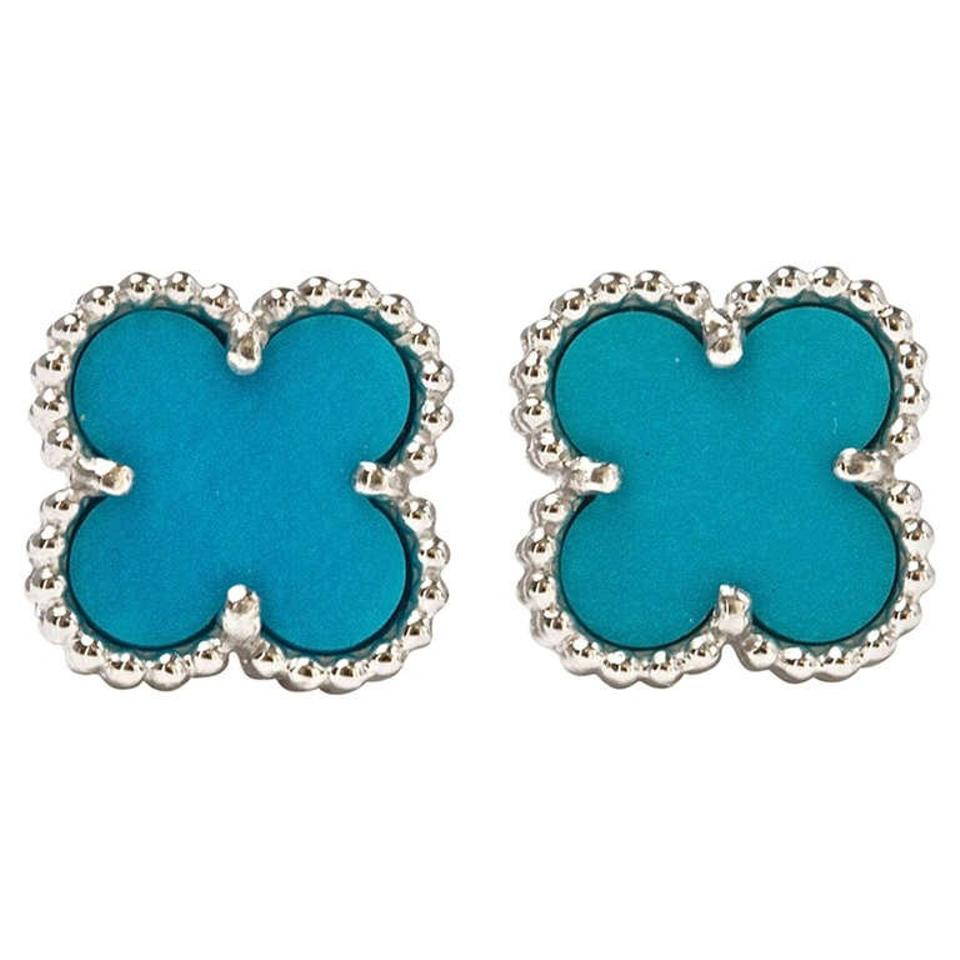 Van Cleef Arpels Sweet Alhambra White Gold Turquoise Earrings