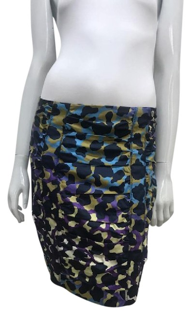 Item - Blue Animal Print Ruched Pencil Skirt Size 6 (S, 28)