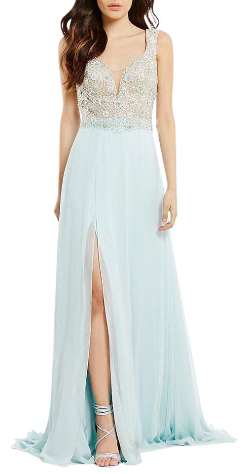 Terani Couture Seafoam Glamour By Terani Couture Illusion Beaded Bodice Long Dress Original Long Cocktail Dress Size 6 S