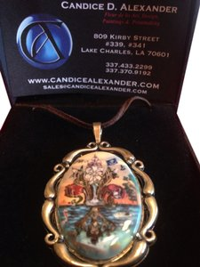 Candice Alexander Handmade Necklace With Leather Necktie