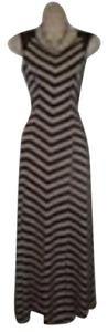 Black and Tan Maxi Dress by Anthropologie Monteau Stripes