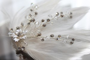 Ivory Dreamy and Soft Feather Clip with Floral and Crystal Accents Hair Accessory