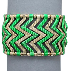Other Green Gold Tone Chevron Bracelet