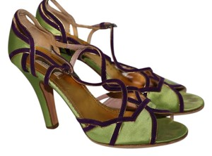 Prada Suede Open Toe Lime Green Sandals