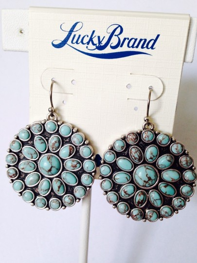 Lucky Brand Turquoise Color-Stone Disc Earrings