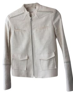 Maje Leather Trim Cream/ Beige Jacket