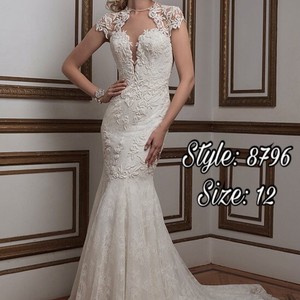 Justin Alexander Ivory Silver Lace 8796 Sexy Wedding Dress Size 12 (L)