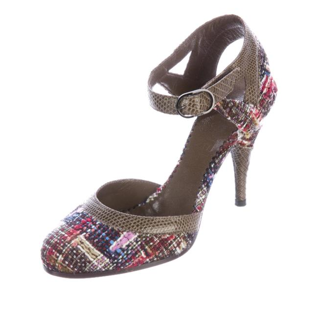 Chanel Olive Brown Pink Red Multi-colored Tweed Pumps Size EU 37 (Approx. US 7) Regular (M, B) Chanel Olive Brown Pink Red Multi-colored Tweed Pumps Size EU 37 (Approx. US 7) Regular (M, B) Image 1
