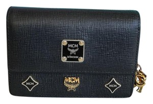 MCM $550 MCM Black Leather Gold Charms Tri-Fold Wallet Small Womans