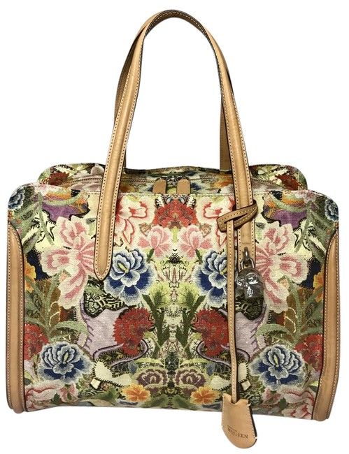 Item - Rare Runway Flowers Skull Multi Color/ Tan Canvas Leather Satchel