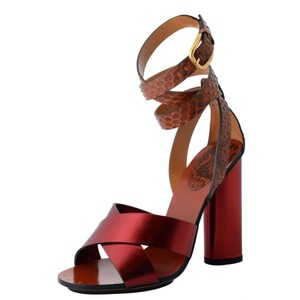 Gucci Leather Python Reptile Burgundy Sandals