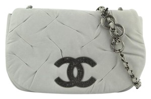 Chanel Leather Light Grey Messenger Bag
