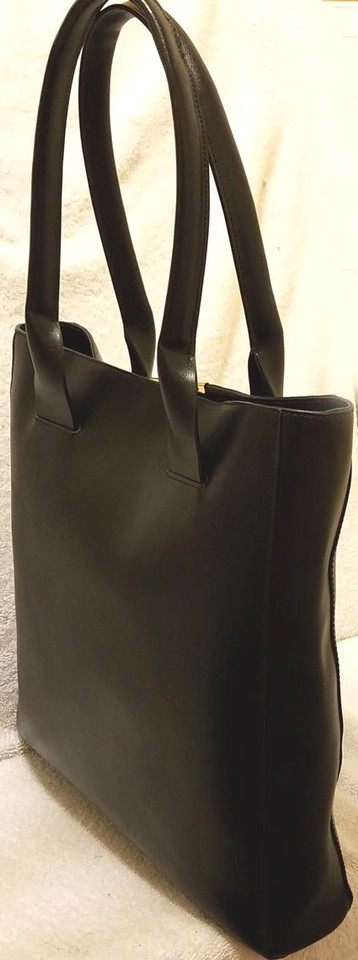 Bcbgmaxazria Extra Large Leather Lined Tote In Black 123456789101112