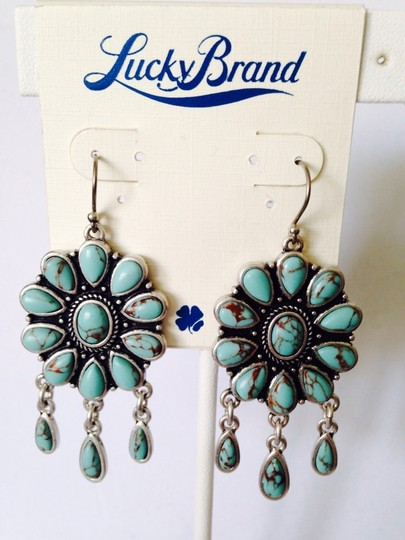 Lucky Brand Turquoise Stone Squash Blossom Dangle Style Earrings