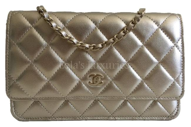 Item - Wallet on Chain Classic Quilted Woc Full Set Metallic Gold Leather Cross Body Bag