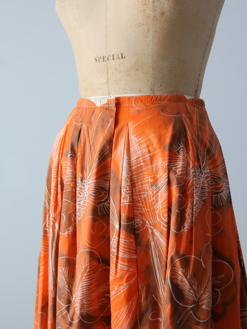 Piazza Sempione Abstract Print Watercolor Print Pleated Skirt Orange