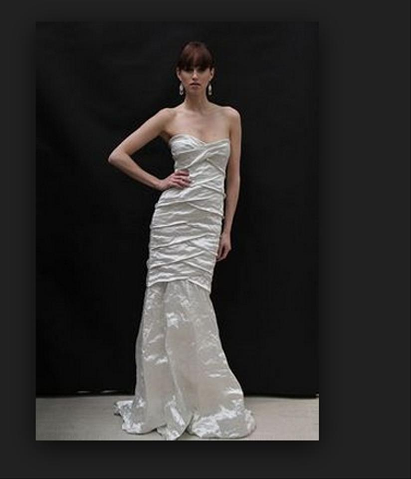 Nicole miller strapless pleated techno metal mermaid gown for Nicole miller strapless wedding dress