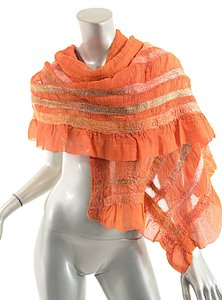 Heather Hall HEATHER HALL Orange Felted Wool/Crinkled Silk Chiffon Scarf w/Stripes-19